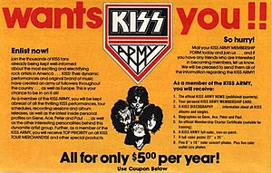 Kiss Army - Kiss Army membership form in 1978 used language similar to earlier military recruitment posters.