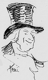 Drawing of a white, middle-aged clean-shaven man in a top hat, smiling benevolently