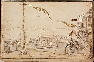 Pierre Eugene du Simitiere - Raising the Liberty Pole in New York City, 1770 pen and ink drawing by Simitiere depicting one of six liberty poles to be alternately raised and later removed over ten years in confrontations among the Sons of Liberty and British troops stationed in the city prior to the American Revolutionary War.