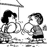 Linus looks for opening to knock out Lucy in boxing match.
