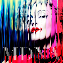 Close-up of Madonna in front of a colorful background. The image is distorted through the use of a glass-pane like filter, giving it a wavy appearance.