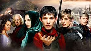 Merlin (2008 TV series) - From left to right: Guinevere, Gaius, Morgana, Merlin, Arthur, Uther and the Great Dragon in the background.