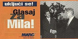 Milo Đukanović - Đukanović campaign poster for the October 1997 presidential elections. The slogan exclaims: Get involved! Vote for Milo!