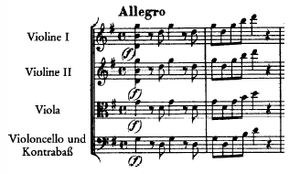 Double stop - The beginning of Mozart's Eine Kleine Nachtmusik (1787). The First and Second Violins have a triple stop notated. The low D is to be bowed only briefly and left to ring. Shortly afterward the D and G are played normally.