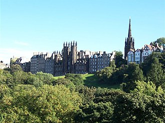 New College, Edinburgh - From Princes Street Gardens