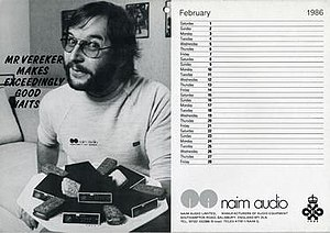 Naim Audio - Page of Naim Audio company calendar, February 1986, with image of founder Julian Vereker in a parody of a Mr Kipling advertising slogan