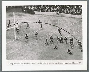 1925 college football season - Dartmouth's victory over Harvard; a pass from Oberlander to Tully.