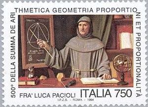 Summa de arithmetica - 1994 Italian 750-lira postage stamp commemorating the 500th anniversary of the Summas publication