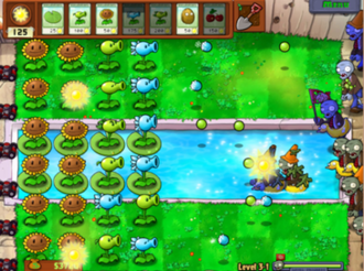 Plants vs. Zombies - Gameplay in progress