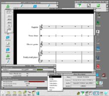 An application window showing music notation software. Musical staves are in the center of the screen, toolbox windows are above, below, and to the left.