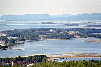 Storuman Municipality - The lake at Storuman seen from the hills above the town.