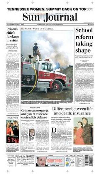 Sun Journal (Lewiston, Maine) - Image: Sun Journal (Lewiston) front page