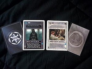 Star Wars Customizable Card Game - Dark and Light Side card fronts and backs; these two are character cards