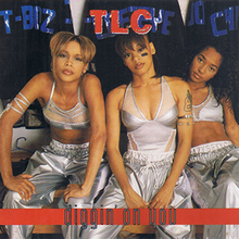 The three band members are seated while dressed in matching silver outfits from left to right; T-Boz, Left Eye, and Chilli.