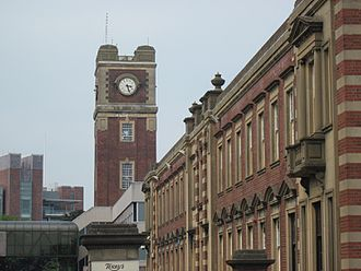 Terry's - The Chocolate Works factory clock tower, with York Racecourse in the background