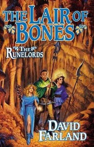 The Runelords - Darrell K. Sweet's illustration of Gaborn Val Orden, Iome Sylvarresta, and the young Averan, from the cover of The Lair of Bones.