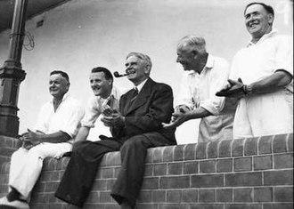 "Tom Stott - Tom Stott (far right) at a ""Press v Parliament"" cricket match, 1947"