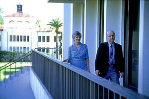 Ralph D. Winter - Ralph (right) and Roberta (left) Winter on the campus of William Carey International University in Pasadena, Calif.