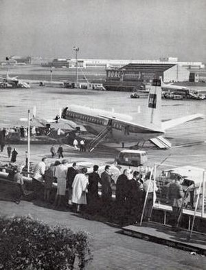 Great West Aerodrome - View from the Queen's Building at Heathrow Airport in the 1960s. The Fairey Aviation hangar and control tower can be seen in the background.