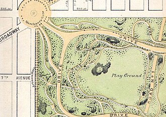 Ballplayers House, Central Park - Image: 1868 Vaux ^ Olmstead Map of Central Park, New York City Geographicus Central Park Central Park 1869 (Showing Playground)