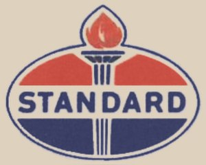 "Amoco - 1961–1970 Standard logo. Logo bore the ""AMERICAN"" name outside the Indiana Standard marketing area."