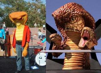 """The Aquabats! Super Show! - Many of the series' villains were carried over from The Aquabats' stage shows. Pictured above is """"CobraMan"""", appearing as a villain at an Aquabats concert in 2008 (left) and on an episode of Super Show! in 2012 (right)."""