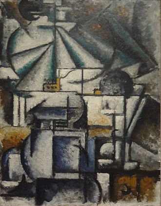 Estorick Collection of Modern Italian Art - Ardengo Soffici, 1912-13, Deconstruction of the Planes of a Lamp, oil on panel, 45 x 35 cm, Estorick Collection