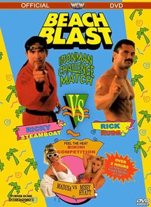 Beach Blast (1992) - DVD cover featuring Ricky Steamboat, Rick Rude, Madusa, and Missy Hyatt