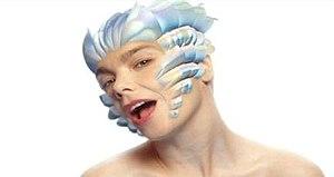 """Hunter (Björk song) - Björk transforming into a polar bear in the music video of """"Hunter""""."""