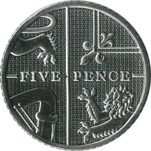 Five pence (British coin) - Image: British five pence coin 2015 reverse