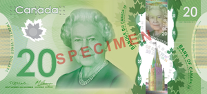 Canadian twenty-dollar note - Image: Canadian $20 note specimen face