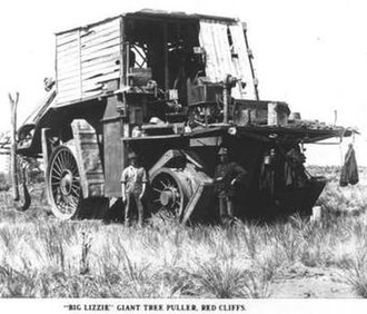 Frank Bottrill - Frank and Reuben Bottrill with Big Lizzie, in Red Cliffs, Victoria