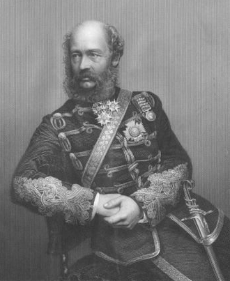 George Bingham, 3rd Earl of Lucan - The 3rd Earl of Lucan. Engraving by D. J. Pound, c. 1860