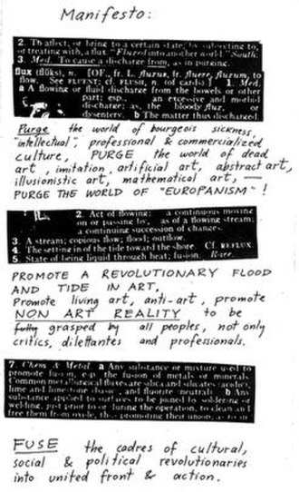 George Maciunas - Maciunas' Fluxus Manifesto, copies of which were thrown into the audience at the Festum Fluxorum Fluxus, Düsseldorf, February 1963.