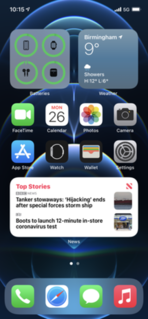 iOS 14 Fourteenth and current major release of iOS, the mobile operating system developed by Apple Inc.