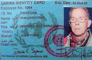 Iain Hook - The identity card of UNRWA's Jenin project manager, Iain John Hook. He was shot and killed by an IDF sniper.