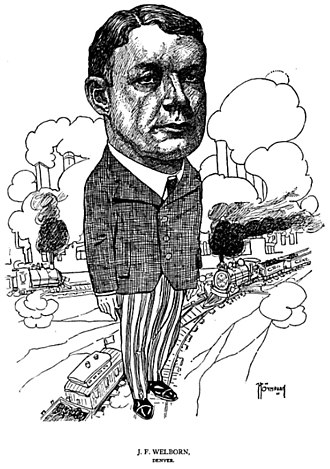 Colorado Fuel and Iron - 1904 caricature of Jesse F. Welborn executed by B.S. White of American Cartoonist Magazine.