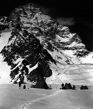 K2 - The west face of K2 taken from the Savoia Glacier, on the 1909 expedition
