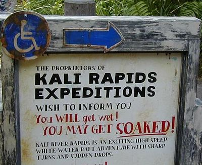 The Warning Sign At Entrance Of Kali River Rapids Warns Guests That Ride