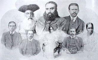 Sirimavo Bandaranaike - The Mahawalatenne family, including Mahawalatenne Rate Mahattaya (back row right) and Agnes Mahawalatenne (née Ellawala, front row right), the maternal grandparents of Sirima Ratwatte.