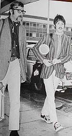 Evans and McCartney at Heathrow airport in 1966, after their African trip.