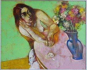 Marcel Antonio - Antonio's Maiden with Flowers, oil on canvas, 2000