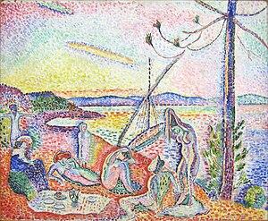 Société des Artistes Indépendants - Henri Matisse, 1904, Luxe, Calme et Volupté, oil on canvas, 98.5 × 118.5 cm (37 x 46 in), Musée d'Orsay, Paris. Exhibited at the Salon des Indépendants, 1905