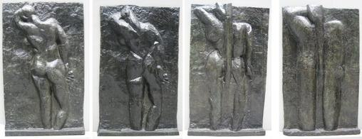 Matisse - left to right %27The Back I%27, 1908-09, %27The Back II%27, 1913, %27The Back III%27 1916, %27The Back IV%27, c. 1931, bronze, Museum of Modern Art (New York City)