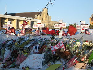 Northern Illinois University shooting - Multiple makeshift memorials, including this one near the MLK Commons facing Cole Hall, were established across the NIU campus in the days after the shooting.
