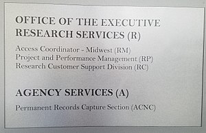 Organization of the National Archives and Records Administration - An office sign at the National Archives showing various organizational titles