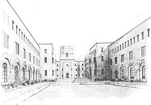 Buildings of Nuffield College, Oxford - Part of Harrison's first design of 1939; the view from the west end of the lower quadrangle, looking towards the upper quadrangle with the tower over the entrance to the hall
