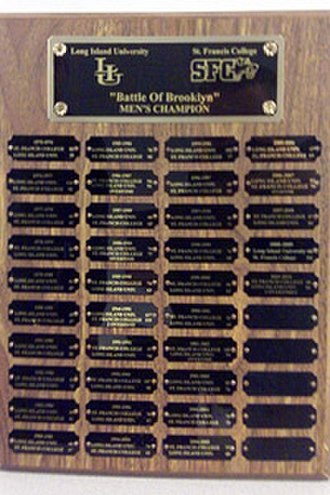 St. Francis Brooklyn Terriers men's basketball - The Battle of Brooklyn plaque listing the past winners since 1976
