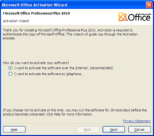 The Activation Wizard in Office 2010