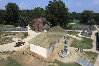 Jamestown Church - Digital model of the second church in relation to the current structure.